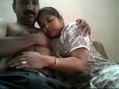 Ugly mustached plump Indian man plays with titties of his wifey