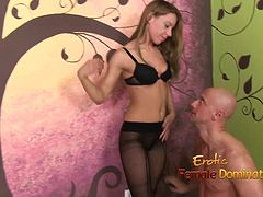 Exotic dominatrix spanking and humiliating her toy-boy
