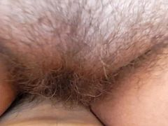 Hairy mature riding
