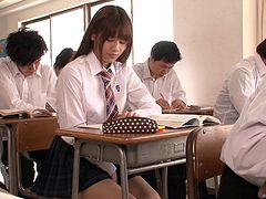Plaid skirt girl in class taking cock from her teacher