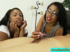 Ebony mom and offspring jerking stepdad