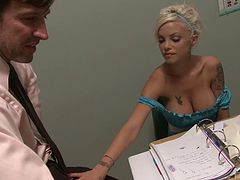 Big boobs blonde in a wicked slutty dress fucks in class