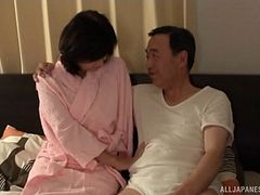 Milf in elegant pink lingerie fucked by a horny Japanese guy