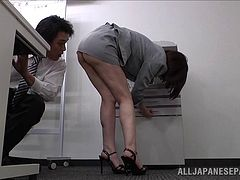 Office cock-tease drives her colleagues madly insane