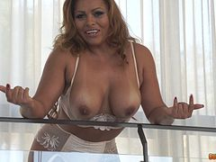 Latina milf hottie dressed up lingerie to get banged