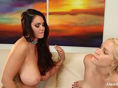 Pornstars Alison Tyler & Vanessa Cage fuck on the couch