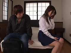 Pretty Japanese housewife seduces him and sits on his dick