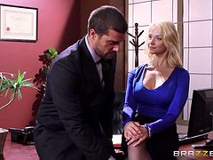 Slutty blonde co-worker in lingerie gets fucked in the office