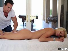 Graceful Addison gets both the massage and the penetration
