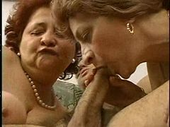 2 Grandmas Enjoy a Hunk and his cock.