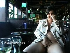 Amateur bbw Kinx upskirt masturbation in a bar and outdoor