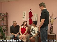 Amateur Redhead Gangbanged by 3 Average Men