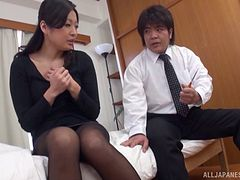 Watching an Asian milf masturbate makes him so horny