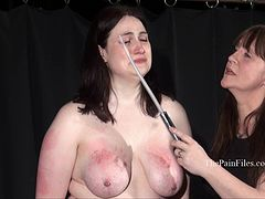 Chubby lesbian slave Alyss whipped to tears and merciless