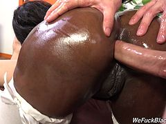 Curvaceous ebony pornstar has her anal jammed by a hung white chap