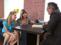 Tricky old teacher gets blowjob from hot college sluts Claire & Penelope
