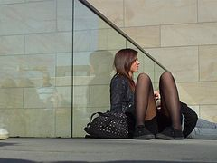 sweet teen in black pantyhose