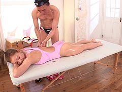 Older Japanese guy massaging a hot babe and screwing her hairy cunt