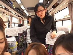 A public bus ride turns into a reverse gangbang with several chicks