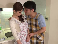 Really cute Japanese housewife gives heads to three men