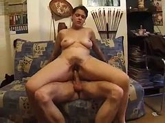 Hairy pussy careless pounding.
