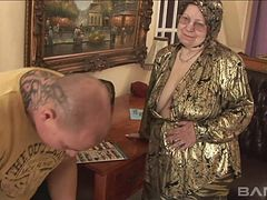 Granny masturbates before she gets rammed by a bald dude