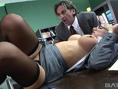 Lustful office bombshells get their juicy cunts poked