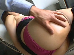 Hungry freak fingers hairy pussy of his bitchy Asian chick Mayumi