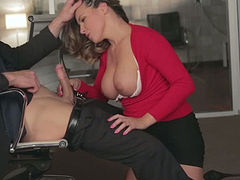 Curvy milf Danica Dillon enjoys sucking and riding a cock in an office