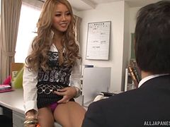 Delicious and hot Japanese blonde gets pounded hardcore in this office sex action