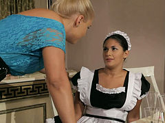 Lusty blond lady Brandy Smile punishes the stealing housemaid Connie