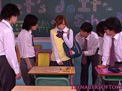Japanese bukkake teen in class jerking cocks