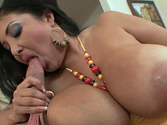 Milf with gigantic boobs Jaylene Rio gives blowjob and swallows balls