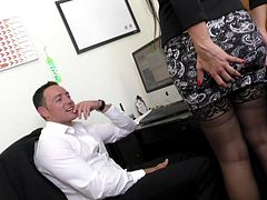 Slutty Latina comes to work in a short skirt so she can fuck