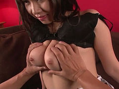 Big breasted Asian hottie Hina Tokisaka gives a great blowjob to her man