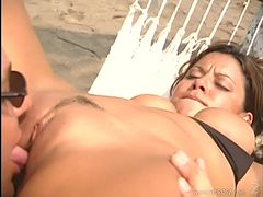 Latina babe with big tits,in bikini enjoys orgasm after bonked in beach
