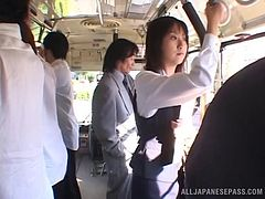 On a public train a Japanese girl gets her pussy fucked
