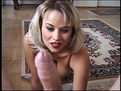 Salacious blonde with natural tits enjoys giving erotic blowjob