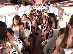 Seductive Japanese teens enjoy fucking hardcore in a bus