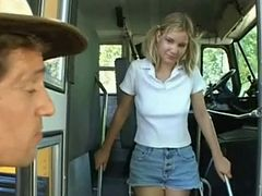 Pigtailed teen in anal on a school bus