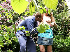 Lovely teen couple is having romantic sex in the spring forest