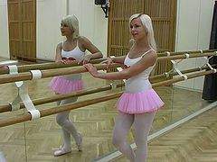 Young ballerina girlfriends in passionate lesbian sex video