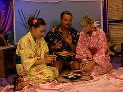 Japanese style FFM threesome with two cute beautiful teens