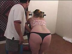 Nice ass babe in a thong likes getting her ass spanked red