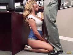Tasty blonde Destiny Dixon rides Ramon's big cock in the office