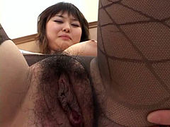 Hairy pussy Asian babe in very sexy black lingerie
