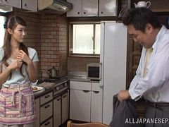 horny japanese wife masturbates fingering her pussy in kitchen
