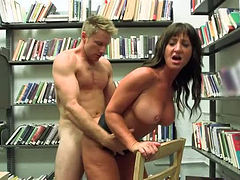 Appetizing librarian gets her insatiable cunt fucked by horny student