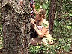 Cute teen gives yum-yum blowjob in the forest