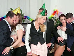 Lame birthday party ends with wicked swinger orgy at the office